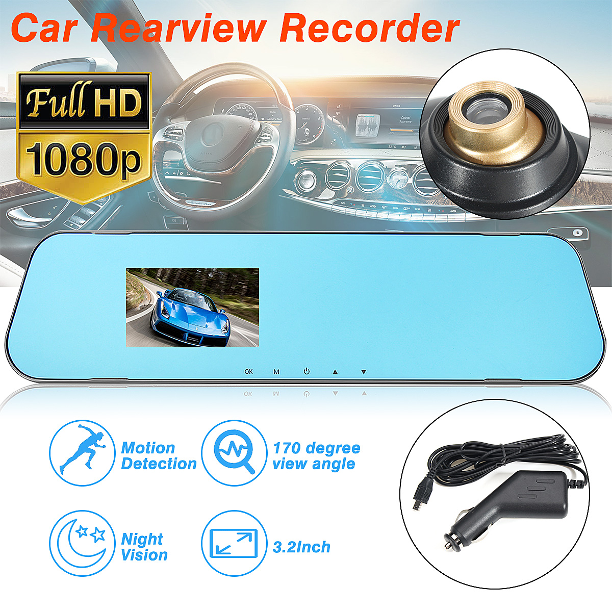 HD 1080P Car 3.2 Inch 170 Degree Wide Angle Rearview Mirror Dash Camera DVR Cam Video Recorder