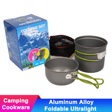 Portable Aluminum Alloy Outdoor Foldable Camping Cookware Cutlery Backpacking Picnic Trip Tableware Pot Pan Ultralight Marching недорого