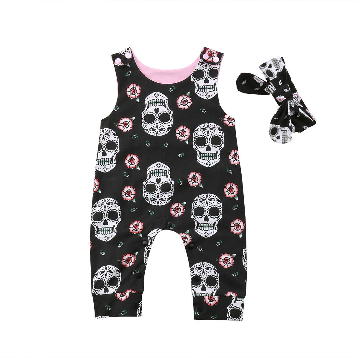 75c0b1fd3 Halloween Newborn Baby Boy Girl Sleeveless Skull Floral Romper Jumpsuit  Headband 2pcs Outfits Baby Clothes
