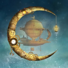 Laeacco Steampunk Gears Moon Lamp Boat Sphere Stars Photography Background Customized Photographic Backdrops For Photo Studio