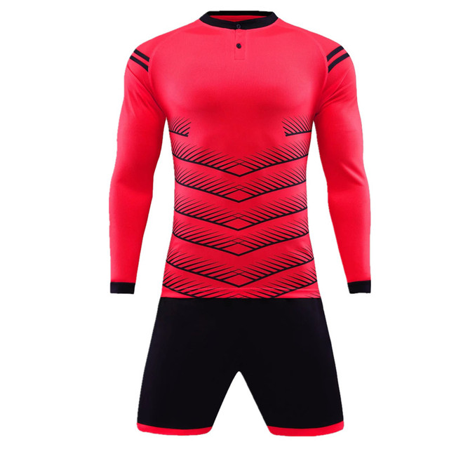 Long sleeve Adult Men and KIDS Football shirt Training team game goalkeeper  Soccer Sets Jerseys Quick Dry Breathable Sportswear 970db5e92