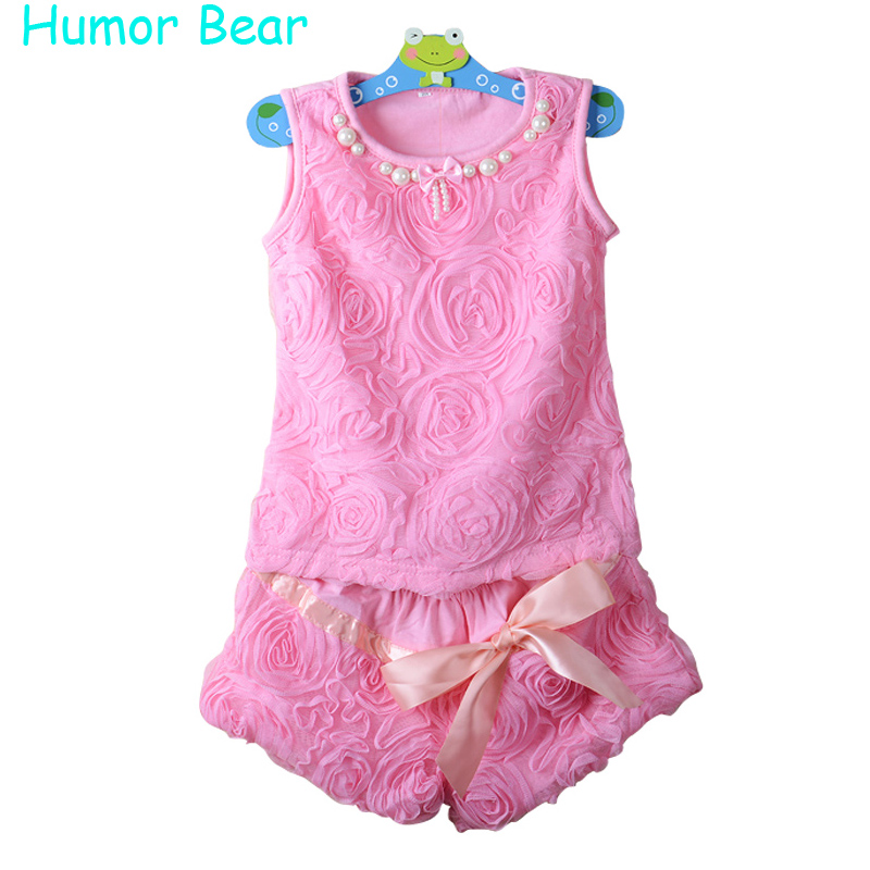 Humor Bear High quality New casual baby girls set Lace Kid Girl Clothes Set T Shirt +shorts Pants Children Clothing Set