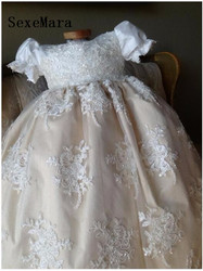 Baby Infant Girls Christening Dress Robe Lace Applique Crystals Baptism Gown Baby Birthday Dress Size 0-24 month WITH BONNET