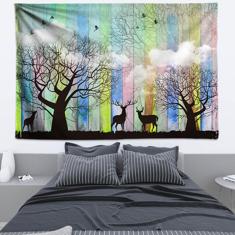 Natural Tapestry Wall Hanging Wood and Cloud Forest Elk Wall Art Boho Decor Psychedelic Wall Tapestry Hippie Wall Cloth 200x300 in Tapestry from Home Garden