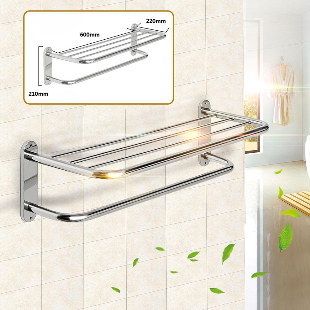 Stainless Steel Wall Mounted Hotel Bathroom Towel Rack Rail Holder Storage Shelf Towel Bars