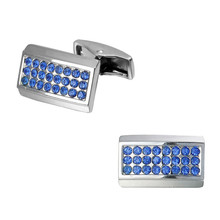 Men's shirts Cufflinks high-quality copper material Square Silver Blue Crystal Cufflinks 2 pairs of packaging for sale