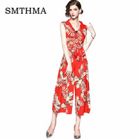 print sexy jumpsuit Boho Red rompers women jumpsuit 2019 Elegant chiffon summer jumpsuit