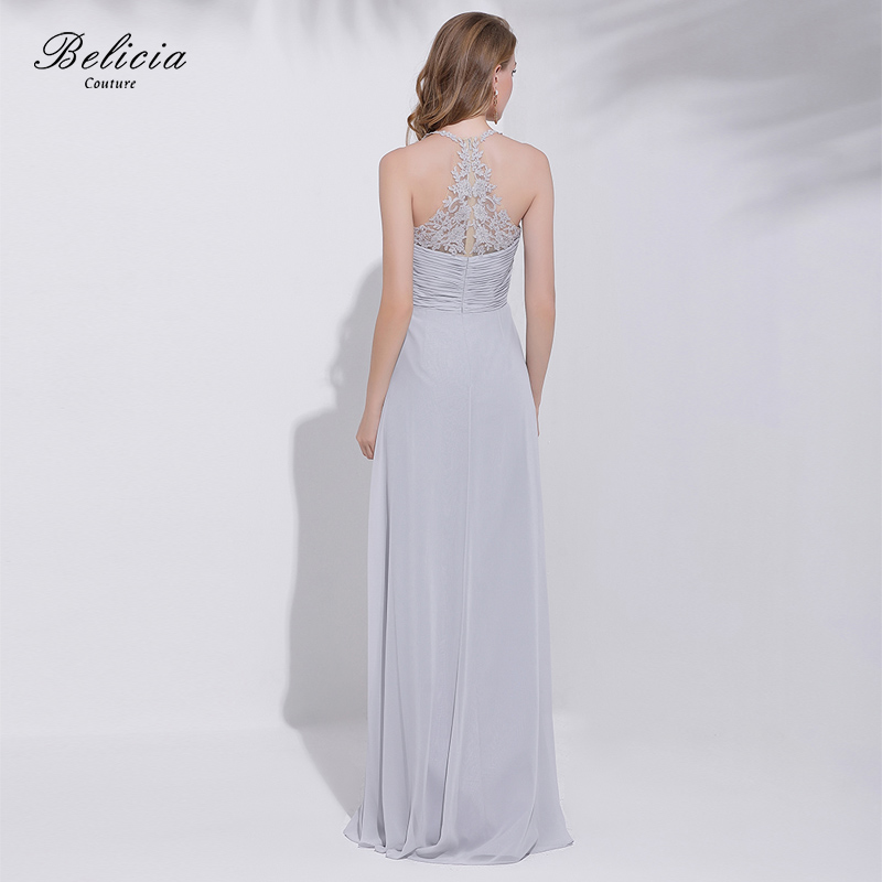 Belicia Couture Silver Grey Formal Evening Dress Bride Banquet Backless  Sleeveless Party Gown Spaghetti Strap Prom Dress-in Evening Dresses from  Weddings ... 716f9c67316c