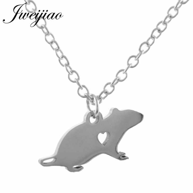 JWEIJIAO Brand Mouse Pendant Necklace Stainless Steel Animal Necklace Simple Summer Style Jewelry For Women Girls SKU40