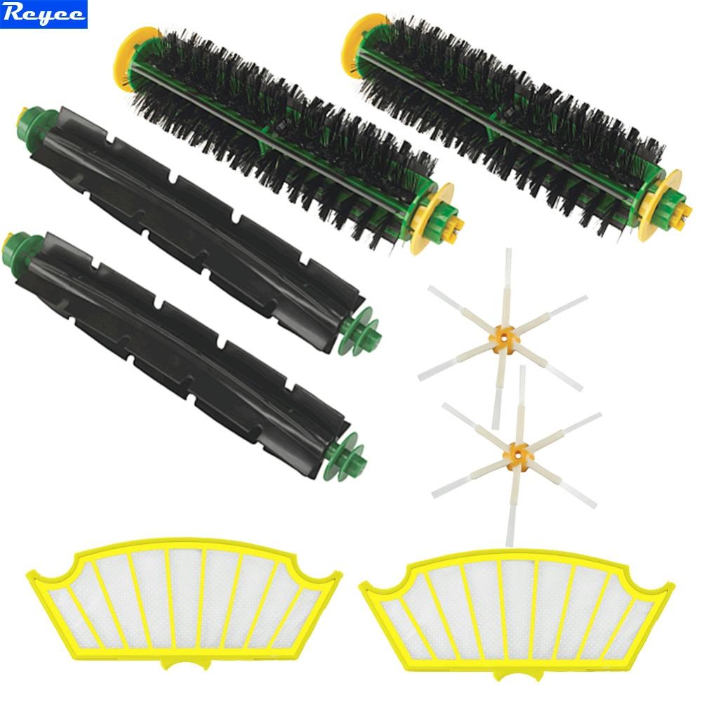 Brand New Plastic Brush & Filter kit for iRobot Roomba 500 Series 510 520 530 550 540 580 6 armed Sides Brush Free Shipping brand new plastic brush