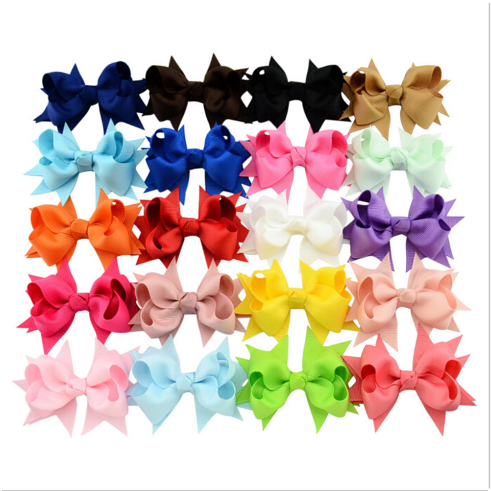20Pcs Grosgrain Ribbon Hairpins Boutique Hair Bows With Clip For Kids Girl Hair Decoration Barrettes Baby Clothing Wholesale