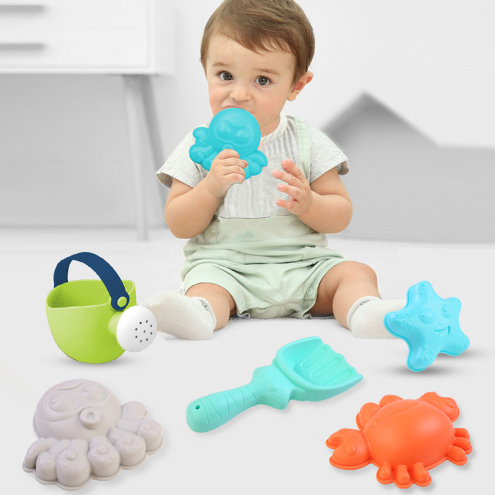 Kids Beach Toy Set Children Summer Silicone Shovel Tool Kit Sand Bucket Rake Hourglass Sandbox Set