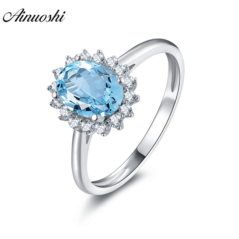 AINUOSHI Natural Blue Topaz Flower Ring Engagement Wedding Ring 1.25ct Oval Cut Gemstone Pure 925 Sterling Silver Women JewelryAINUOSHI Natural Blue Topaz Flower Ring Engagement Wedding Ring 1.25ct Oval Cut Gemstone Pure 925 Sterling Silver Women Jewelry