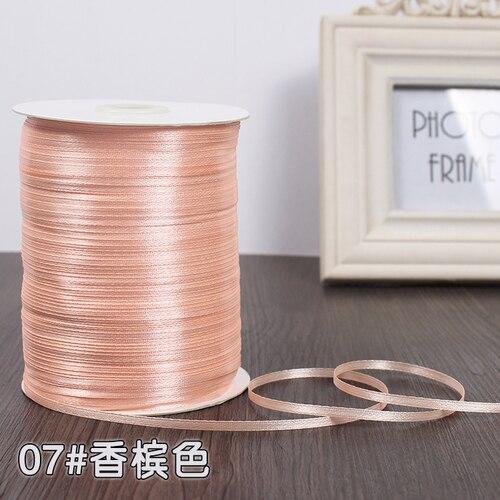 3 мм ширина бордовые атласные ленты 22 метра швейная ткань подарочная упаковка «сделай сам» ленты для свадебного украшения - Цвет: Champagne