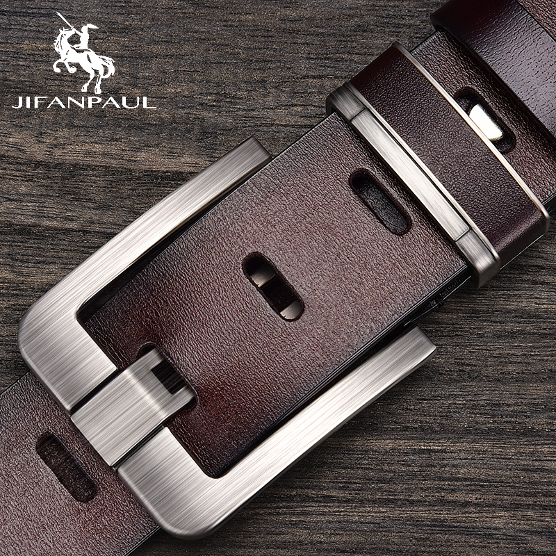 JIFANPAUL Brand Genuine Men's Leather Fashion Belt Alloy Material Pin Buckle Business Retro Men's Jeans Wild High Quality  Belts