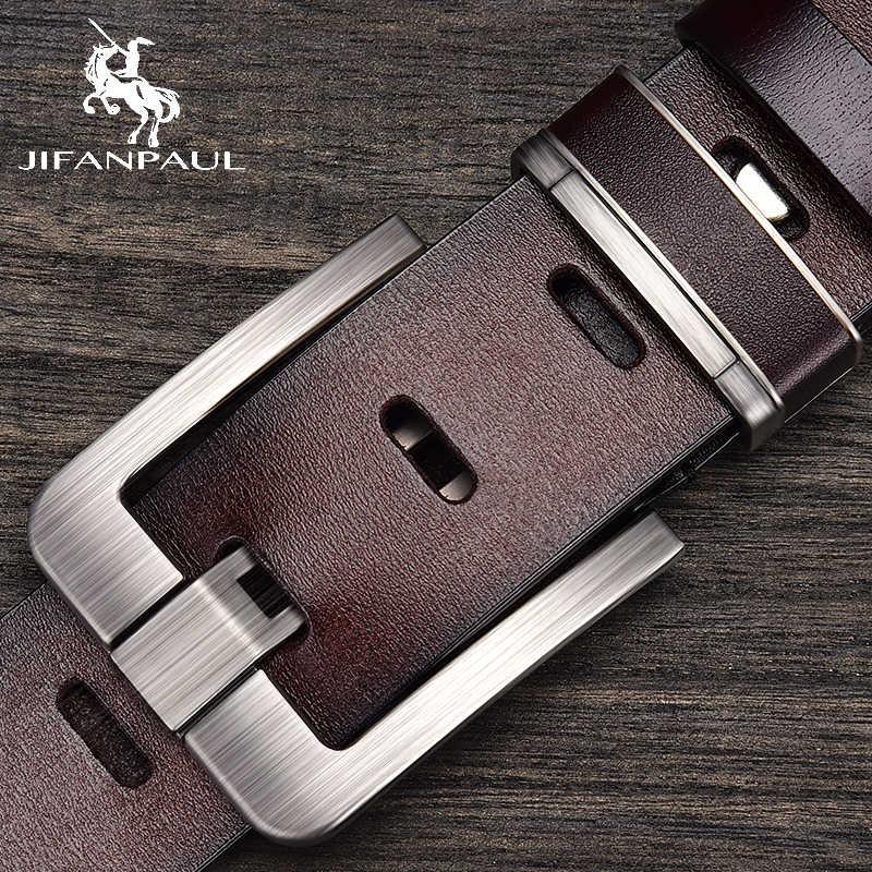 JIFANPAUL Marke Echte männer Leder Mode Gürtel Legierung Material Pin Schnalle Geschäfts Retro Männer der Jeans Wilden Hohe Qualität gürtel