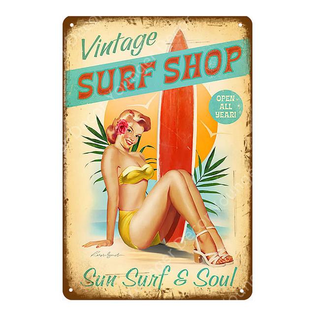 Vintage Surf Shop Metal Tin Signs