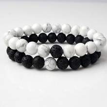 LanLi 8mm natural Jewelry white and black basaltic lava Couples bracelet be fit for men women Giving presents self use