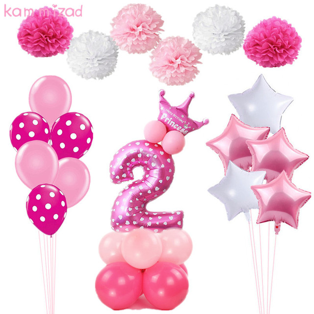 KAMMIZAD 2 Birthday Balloons Number Balloon Year Old Kids Blue Boy 2nd Decoration Pink Girl Party Supplies