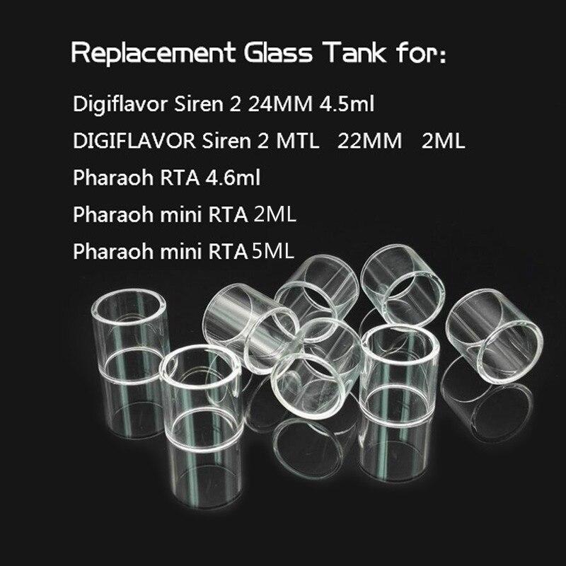 5pcs YUHETEC Replacement Glass Tank For Digiflavor Siren2 24MM 4.5ml/Siren2 MTL 22MM 2ML/Pharaoh RTA 4.6ml/Pharaoh Mini RTA