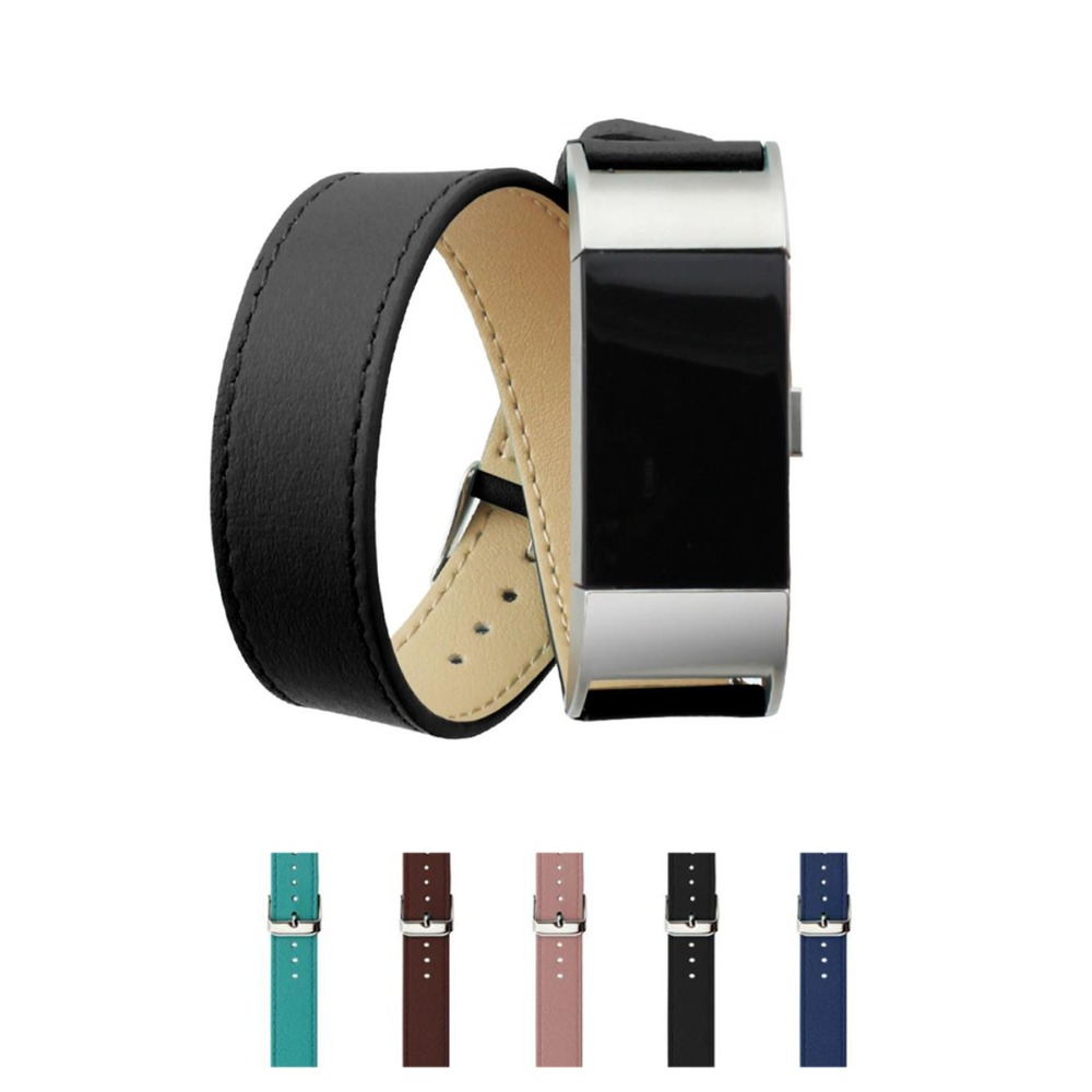 LNOP Double Tour strap For Fitbit Charge 2 band replacement wristband Bracelet Leather wrist watch band for Fitbit Charge2 watch