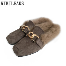 designer flat shoes women mules luxury brand ladies fur mules high quality chain slides slip on loafers zapatillas mujer casual