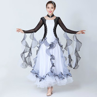 Women Modern Dance Dress Adult Black White International Standard Ballroom Dance Performance Dress Female Flamenco Waltz Skirt 8