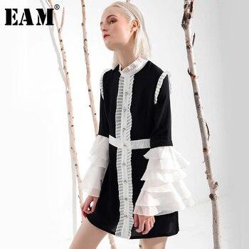 [EEM] 2019 Yeni Bahar Yaz Ruffeled Yaka Uzun Parlama Kollu Hit Renk Pilili Beyaz Gevşek Elbise Kadın Moda gelgit YC001