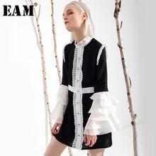 [EAM] 2020 חדש אביב קיץ Ruffeled צווארון ארוך אבוקה שרוול להיט צבע קפלים לבן Loose שמלת נשים אופנה גאות YC001