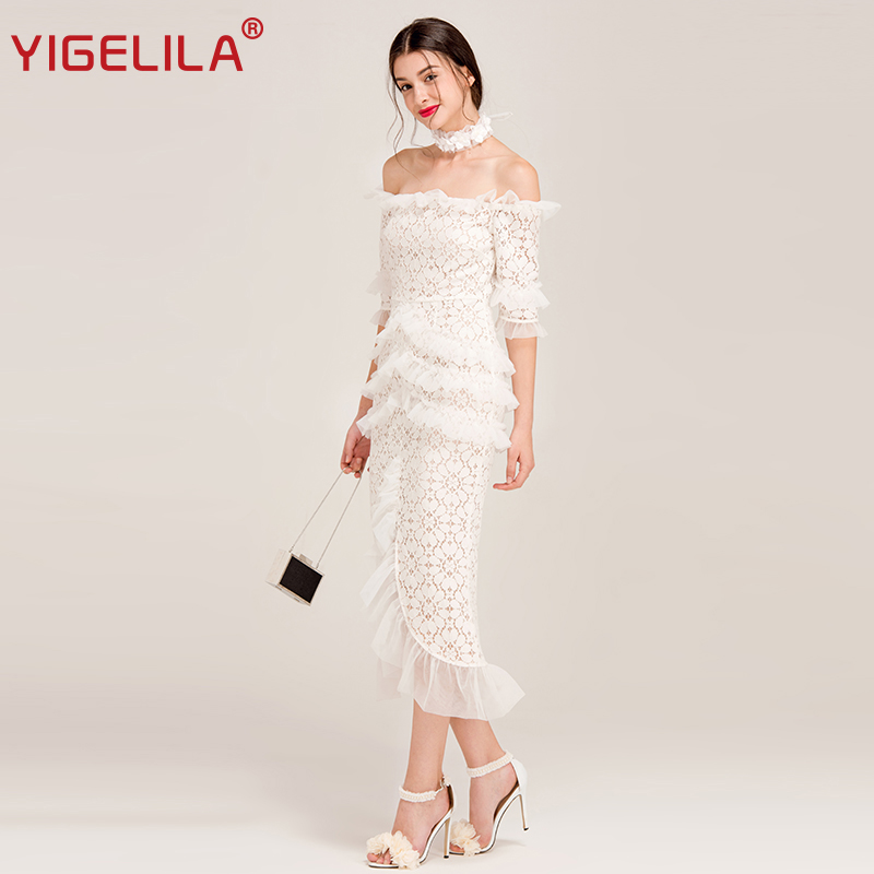 YIGELILA Women Sexy Off Shoulder Lace Party Dress Fashion Slash Neck Flare Sleeve Ruffles Solid Sheath