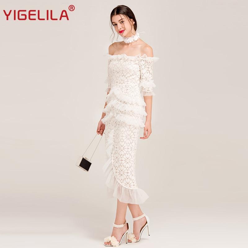 YIGELILA Women Sexy Off Shoulder Lace Party Dress Latest Fashion Slash Neck Flare Sleeve Ruffles Solid