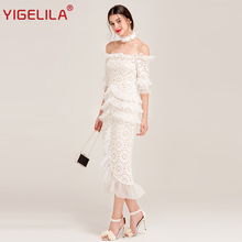 YIGELILA Women Sexy Off Shoulder Lace Party Dress Latest Fashion Slash Neck Flare Sleeve Ruffles Solid Sheath Long Dress 62250