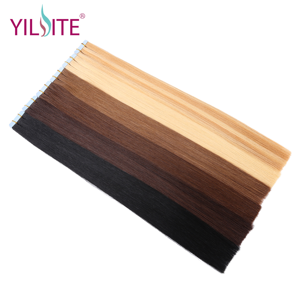 Yilite 20pcs 14-18 Tape In Hair Extensions Russian Remy Straight Hair Tape Human Hair Extensions #1b #2 #4 #6 #8 #22 #613