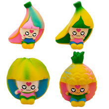 Creative Fruit Slow Rebound Banana Girl PU Simulation Pineapple Princess Cute Cartoon Squeeze Toy Game Birthday Gift