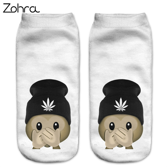 Zohra Funny Emoji Monkey 3D Printed Sock Women Low Cut Ankle Socks Calcetines Hosiery Meias White Casual Sock