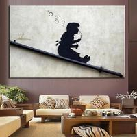 Banksy Art Blowing Bubbles On The Roof Oil Painting On Canvas Painting Abstract Oil Painting
