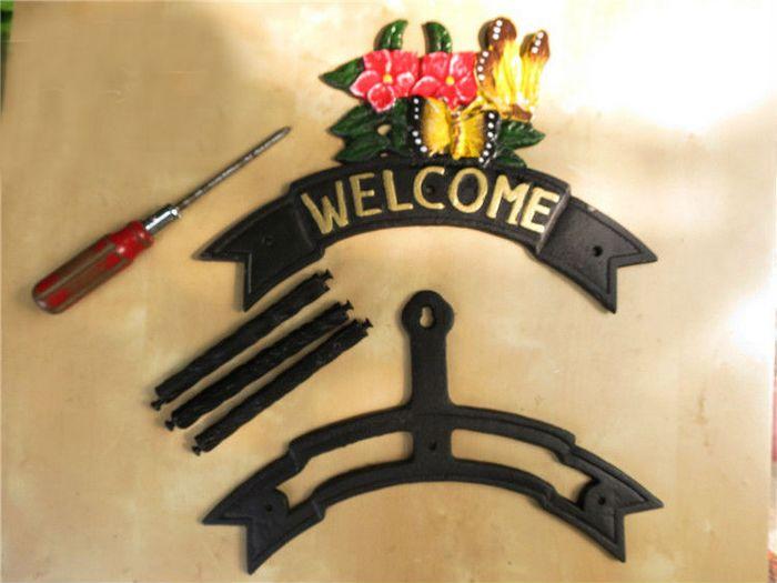 Decorative Garden Cast Iron Hosepipe Pipe Hose Hanger WELCOME ...