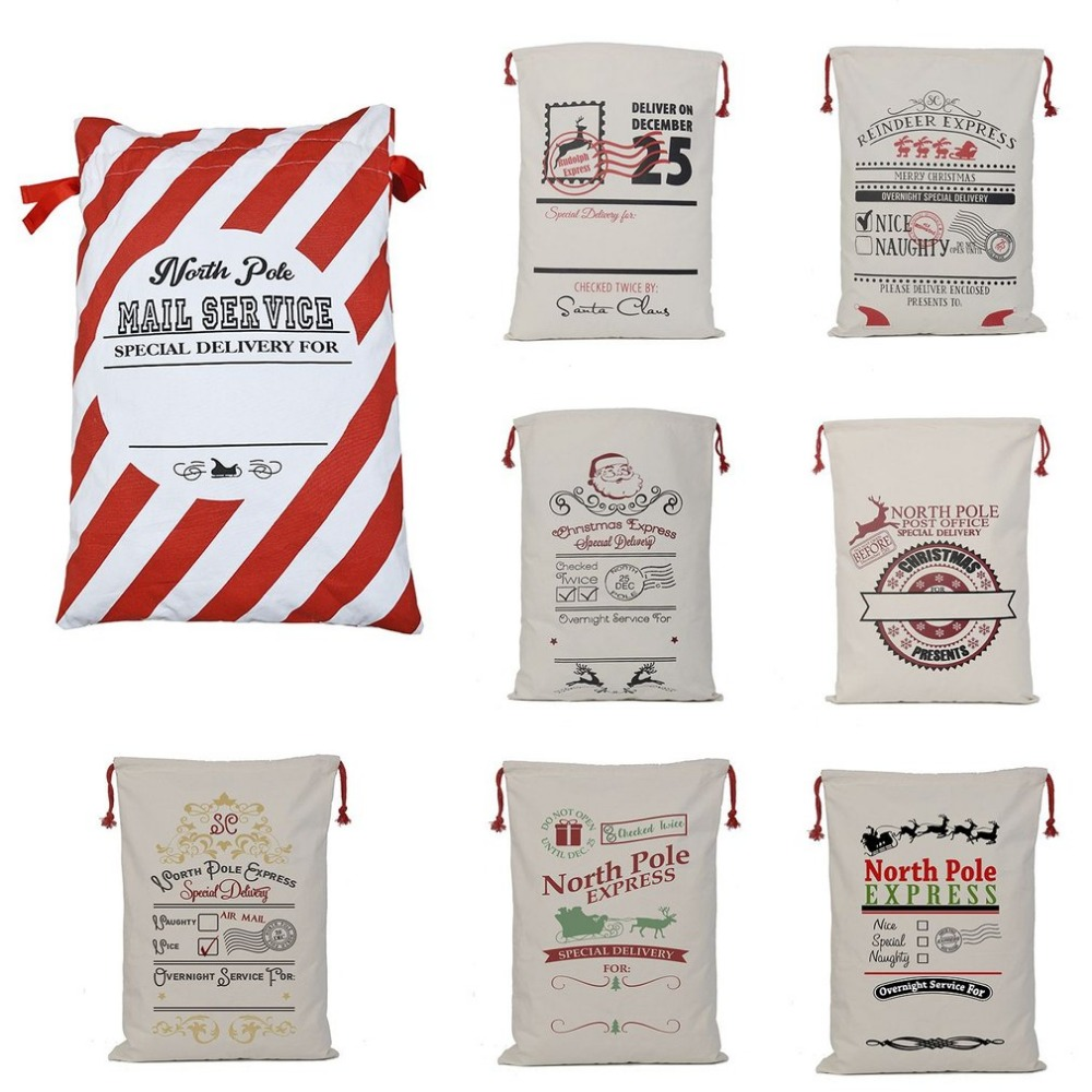 Large Capacity christmas bag Santa Sacks Cotton Reindeer Navidad Gift Holders Candy storage Bag Christmas Decorations Home Kid