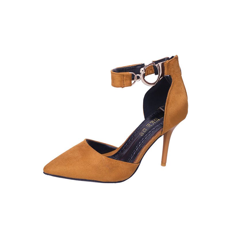 Summer New Fashion Buckle High Heels Women Pumps Elegant Sexy Pointed Toe Thin Heels Ladies Party Wedding Shoes Yellow Red Black yeelves new women fashion thin high heels pumps yellow or black heels court shoes pumps for ladies girl party plus size bowtie