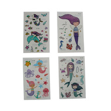 Mermaid Princess Waterproof Temporary Tattoo Stickers Girls Fake Tattoo Flash Body Art Tatoo Christmas Gift for Children(China)