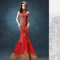 Cheongsam Dress Mermaid Traditional Chinese Dress Designs Chinese Wedding Dress Qipao Lace Qipao Wedding Dress Long