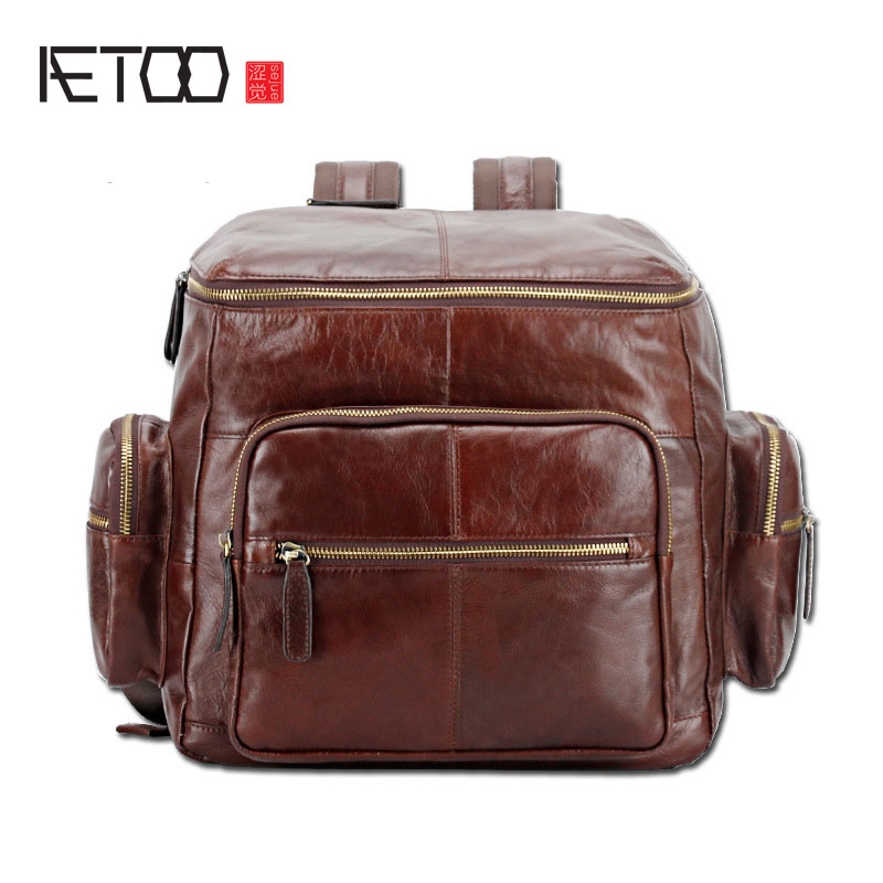 AETOO New men's shoulder bag the first layer of leather fashion tide backpack dual use aetoo spring and summer new leather handmade handmade first layer of planted tanned leather retro bag backpack bag