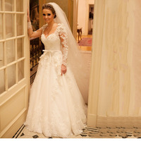 2017 Spring Lace Wedding Dress With Sash And Bow Long Sleeve V-Neck Elegant Charming Brides Wedding Dress Z012