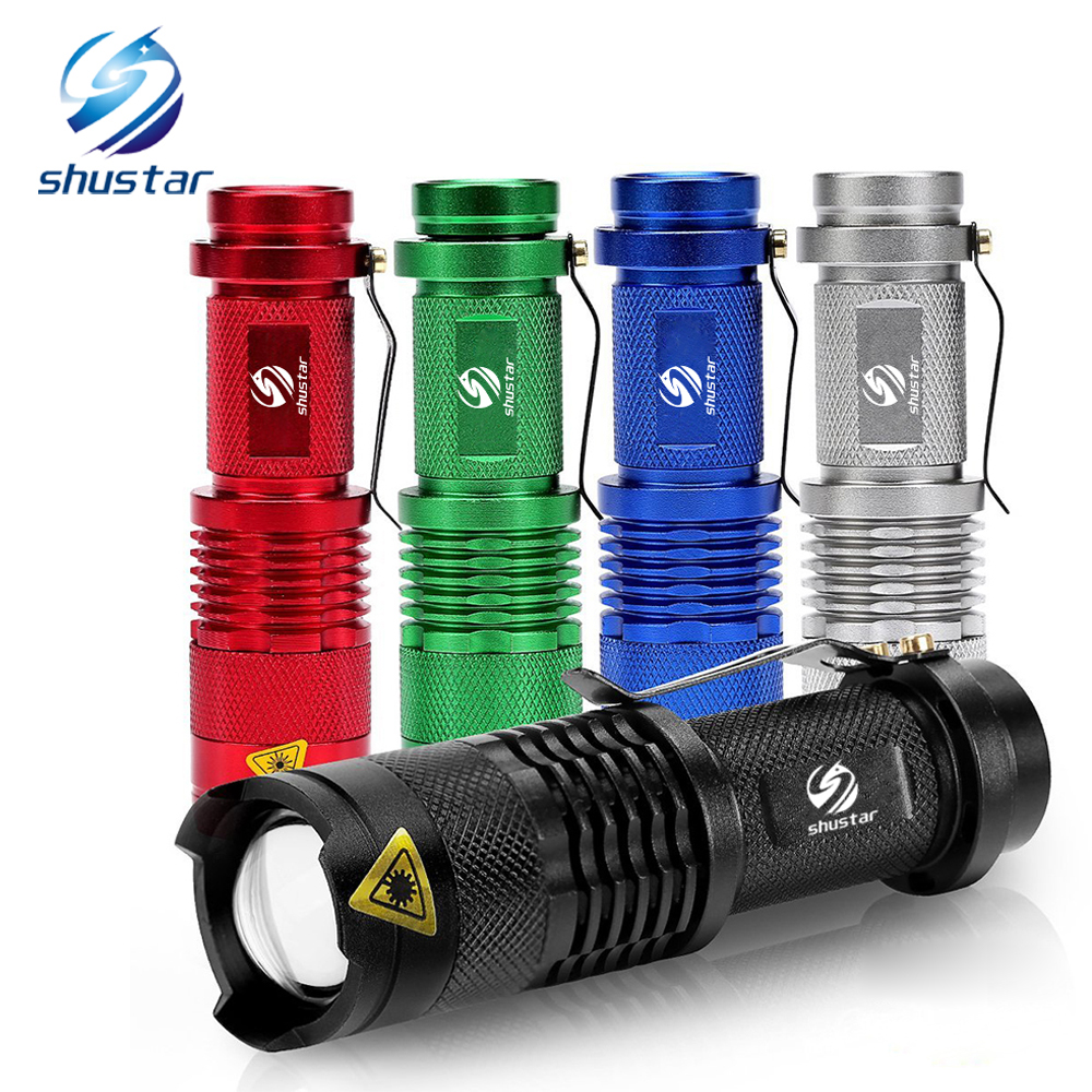 Lampu suluh LED kalis air yang berwarna-warni Kuasa Tinggi 2000LM Mini Spot Lampu 3 Model Zoomable Camping Equipment Torch Flash Light