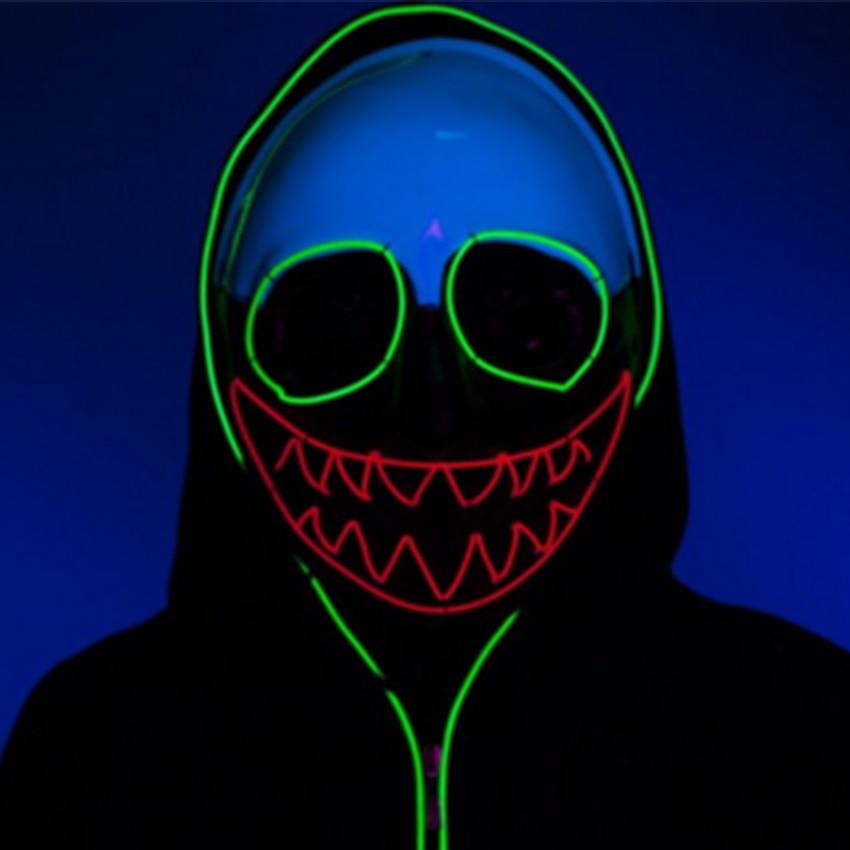 LED vêtements EL masques Halloween cadeau style Science geek masque lumineux casque néon Macabre Clown EL fil LED masques fête danse