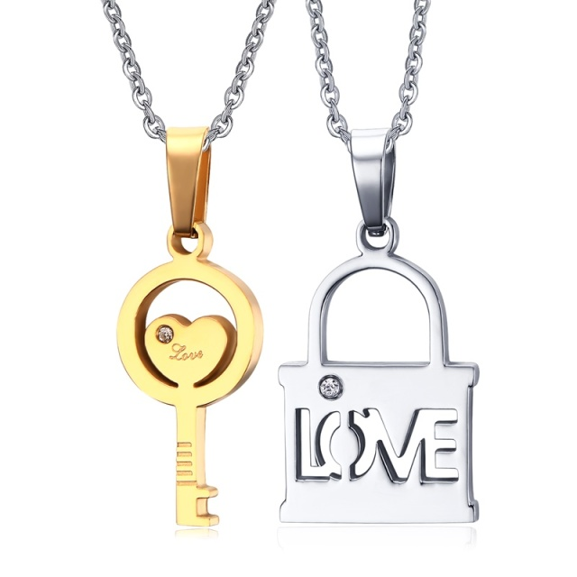 pendant design detail silver lock with jewelry product key and