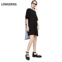 LONGDENG New 2018 Fashion Trend Women Summer O Neck Front Solid Back Striped Patchwork Large
