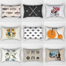 Many styles skull fishes eyes owl pattern rectangle pretty men women  pillow case cover 50*30cm
