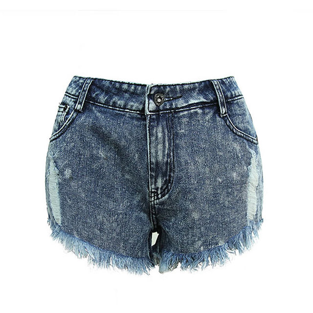sexy denim shorts women 2017 punk blue fringed streetwear jeans ripped fitness shorts cotton beach mini bermuda mulheres pocket