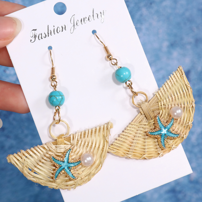 Korea Bohemia Handmade Geometric Drop Earrings For Women Boho Rattan Straw Weave Knit Vine Earring Vacation Party Jewelry image
